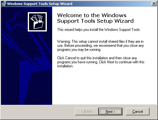 A quick look at the Windows 2003 support tools