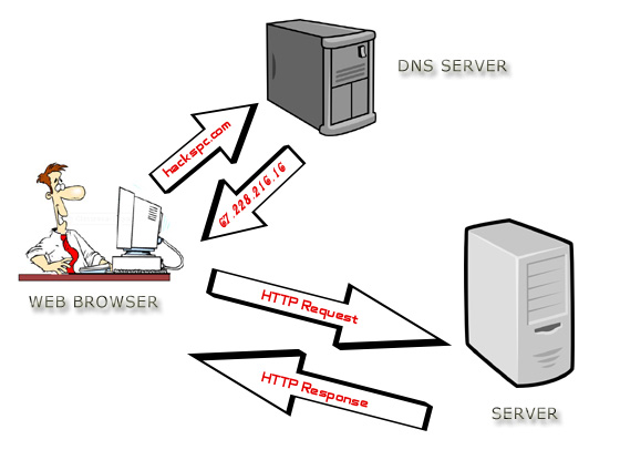 Domain name resolution through a DNS server