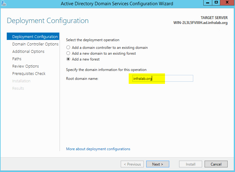 Active Directory deployment configuration