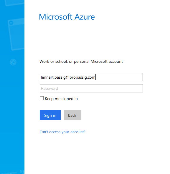 Microsoft Azure Home Realm Discovery step 1