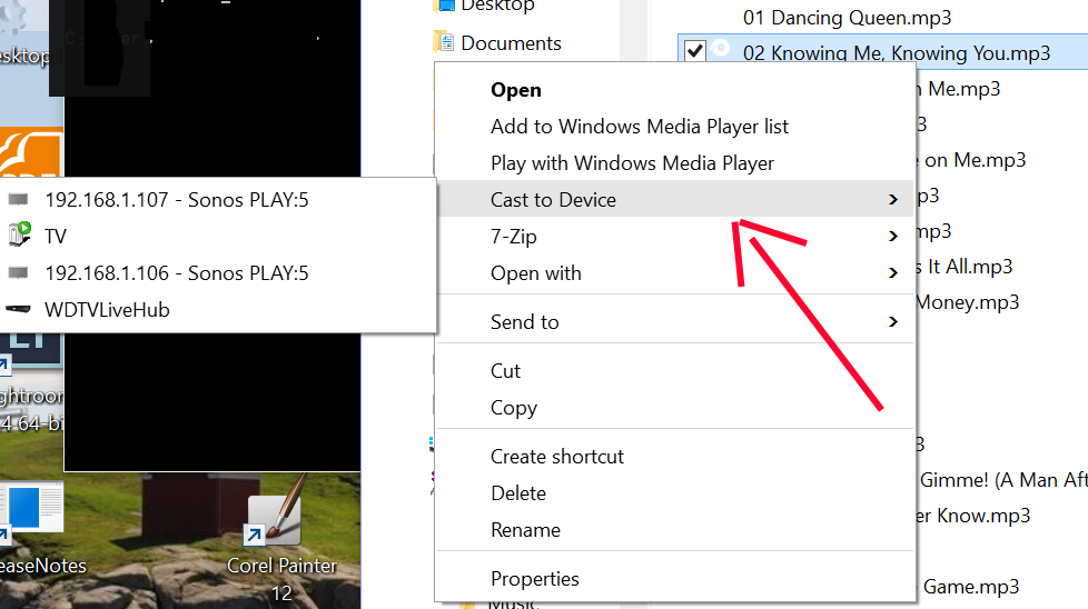 Windows 10 Cast to Device option