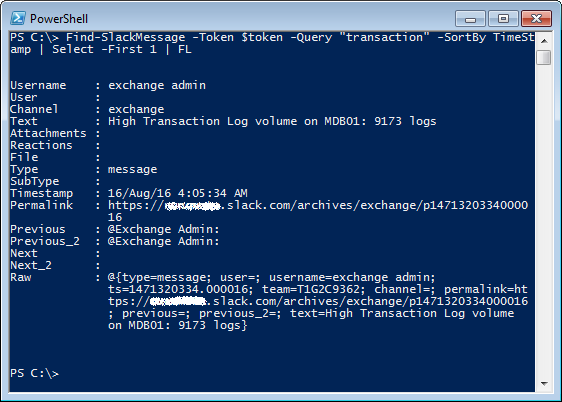 Searching Slack Messages using PowerShell