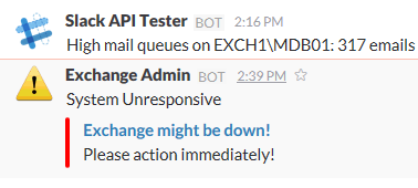Exchange is down rich Slack Mmssage