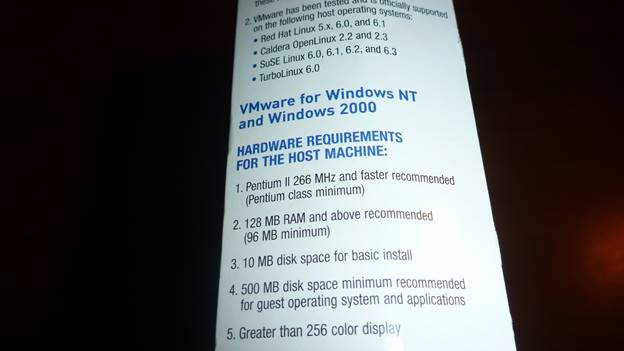 Hardware requirements for VMware 2.0.