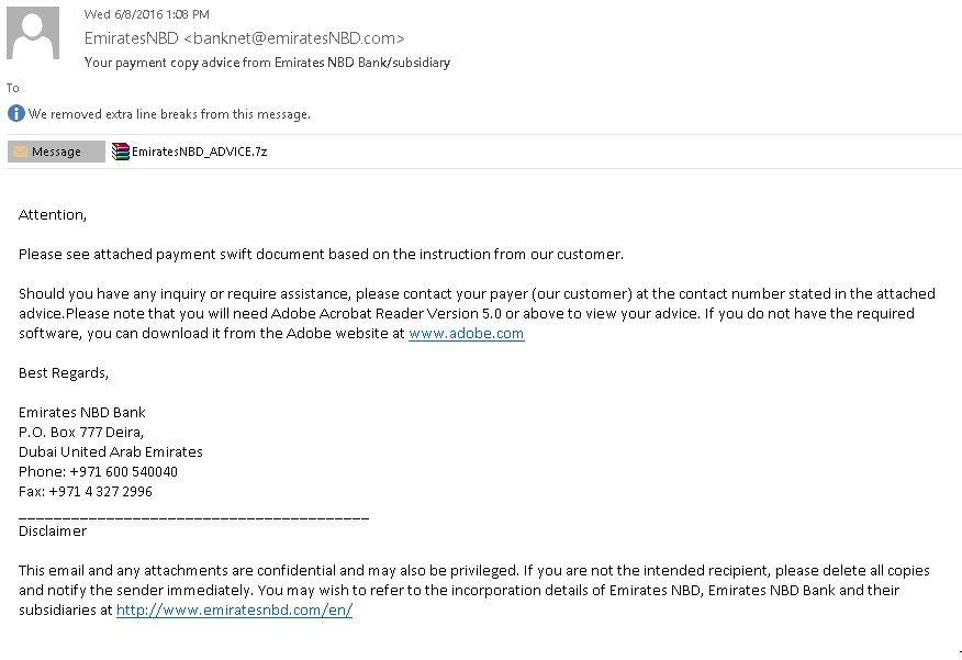 Spear phishing email used in Operation Ghoul malware campaign (photo credit: Kaspersky Labs)