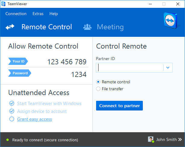 Teamviewer remote control and meeting software