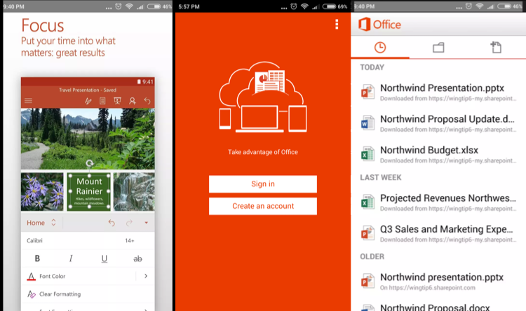 Microsoft mobile office