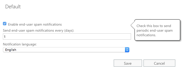 Configure spam notification frequency