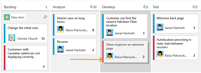 A sample Kanban board used by Visual Studio Team Services.