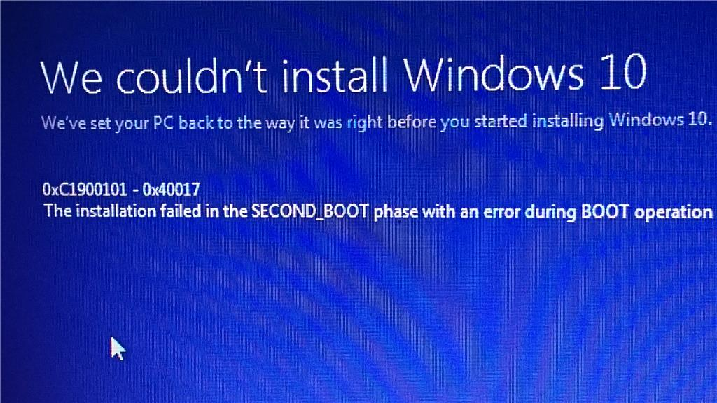 Windows 10 install error