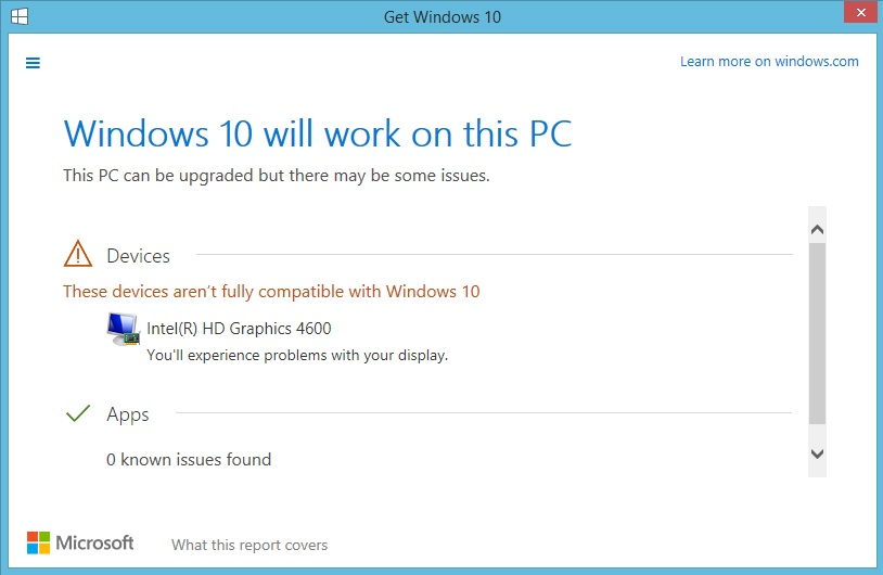Windows 10 compatibility check