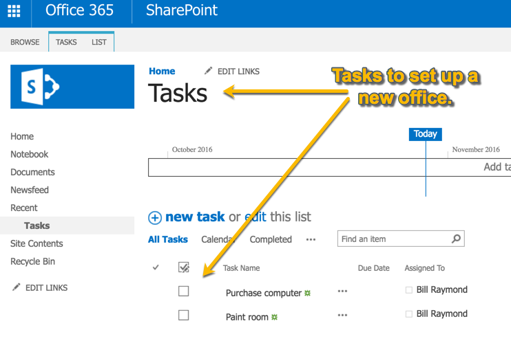 Office 365 SharePoint tasks