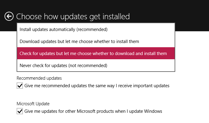 Check settings for Windows 10 updates