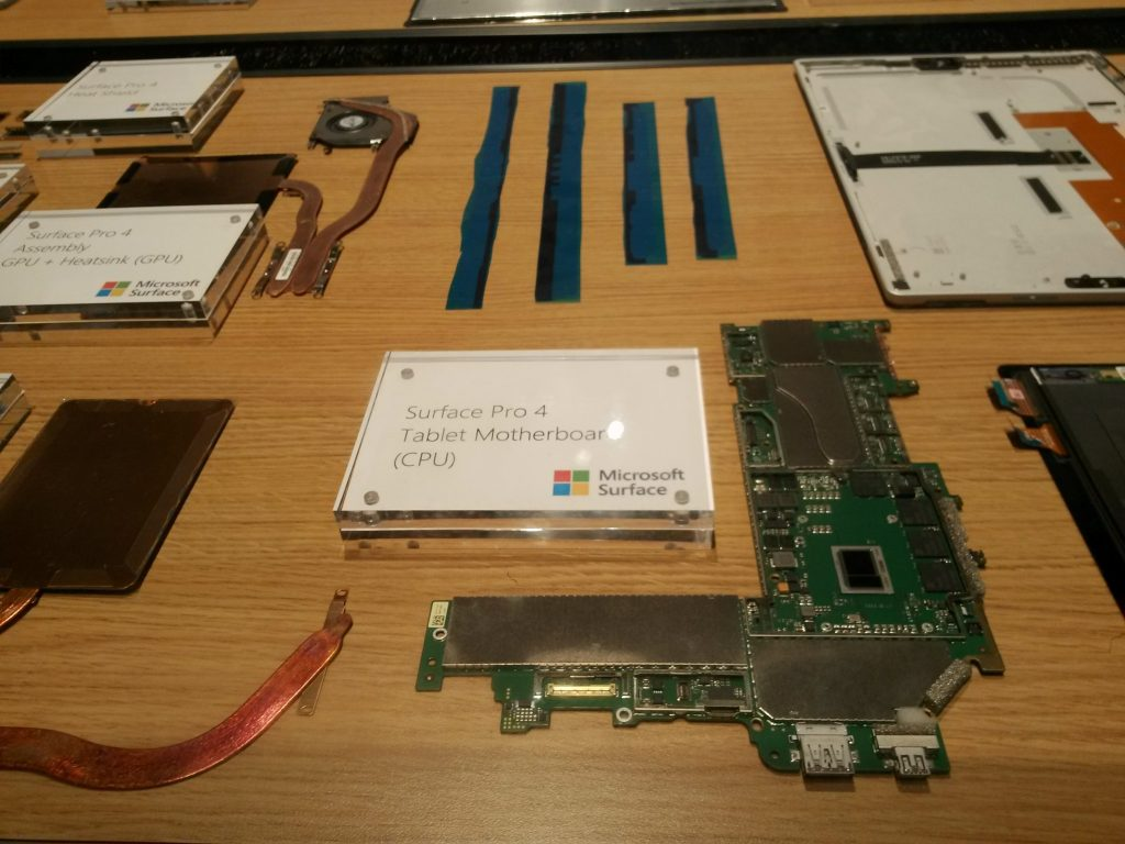 Microsoft had some really cool displays featuring disassembled hardware. This one used to be a Surface tablet.