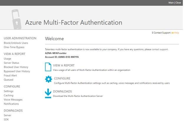 Azure multi-factor authentication portal