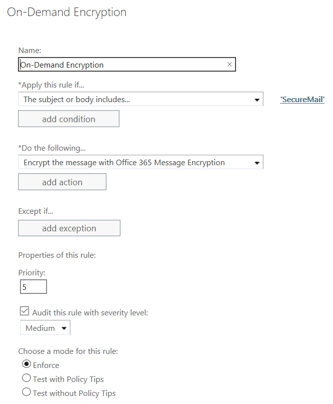 Enabling secure encrypted email in Office 365