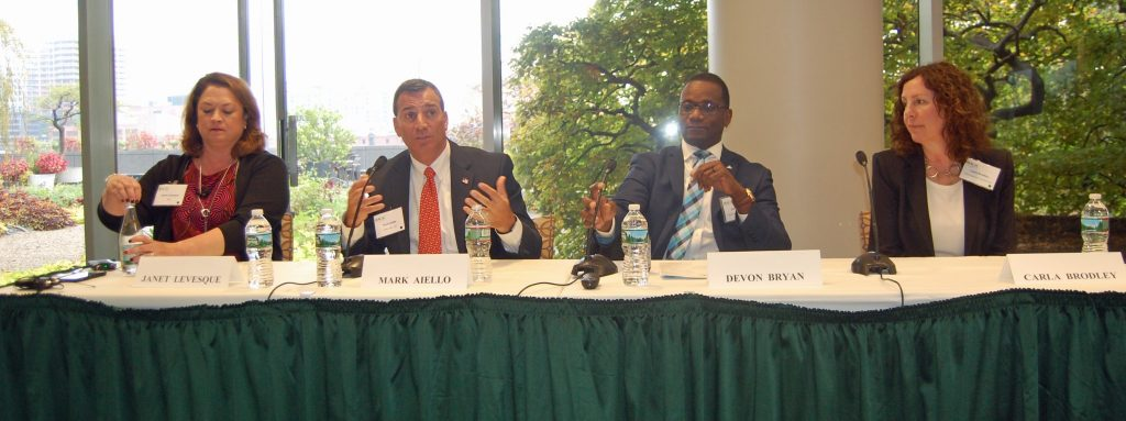 From left to right: Janet Levesque of RSA, Mark Aiello of Cyber 360, Devon Bryan of Federal Reserve System, and Carla Brodley of Northeastern University