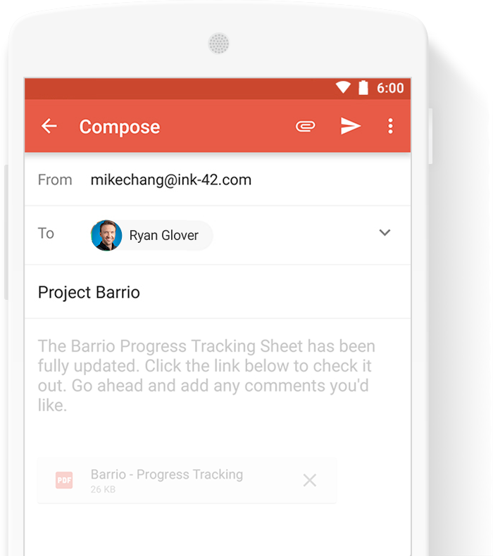 Gmail App on a smartphone