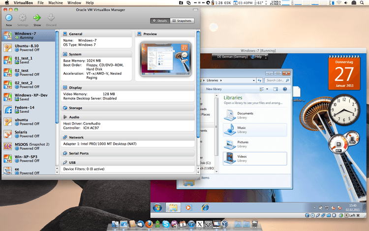 Virtualbox running on Mac OS X
