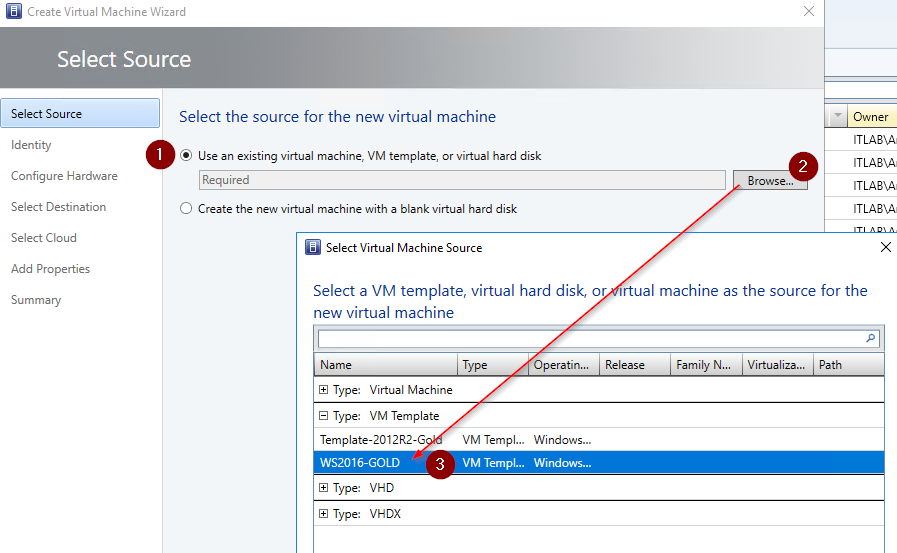 Creating a Windows Server 2016 template with VMM