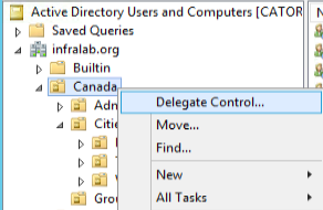Implementing security delegation in Active Directory