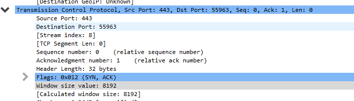 syn ack in wireshark capture