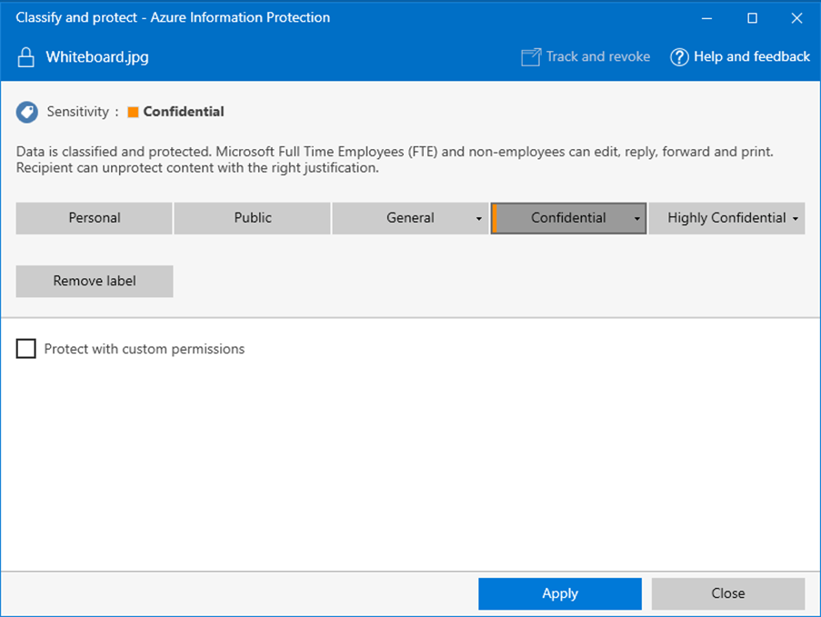 Custom permissions for files with Azure Information Protection
