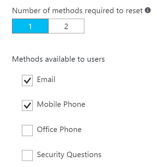Azure password reset methods