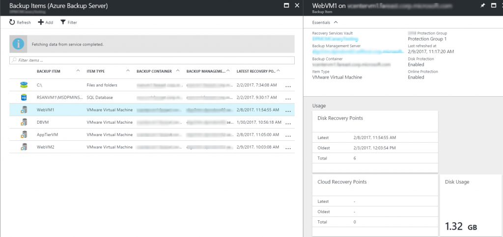 Azure Backup Server central monitoring screen