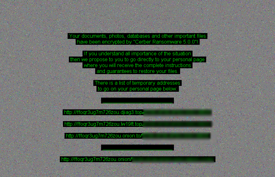 Cerber ransomware message after infection