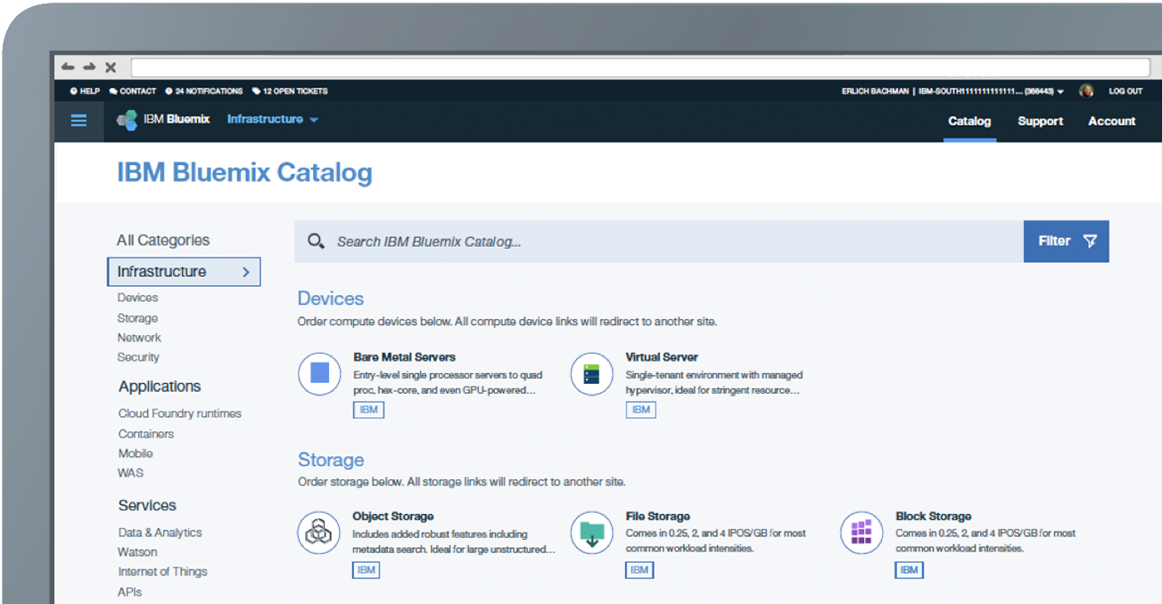 IBM Bluemix Catalog