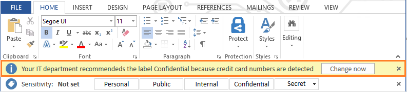 Azure Information Protection notification in Microsoft Word