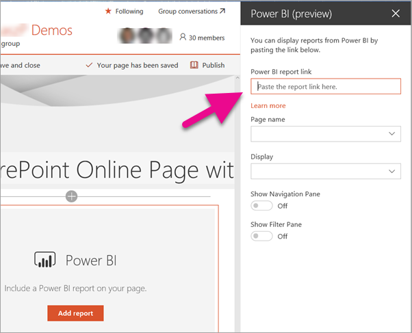 Paste Power BI report URL into the property plane