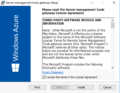 Run the Server Management Tools gateway setup wizard