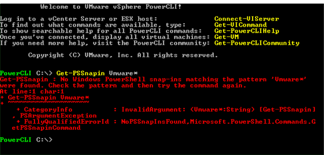 Welcome to PowerCLI screen