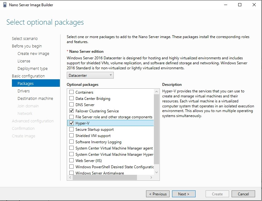 Nano Server-based Hyper-V hosts: creating the image