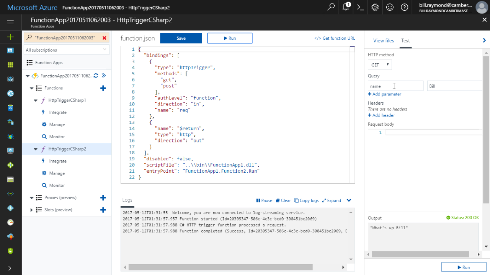 Publish Azure Functions to Azure using Visual Studio Tools