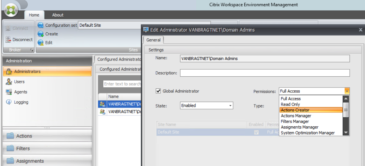 Citrix WEM: Configuring user environment