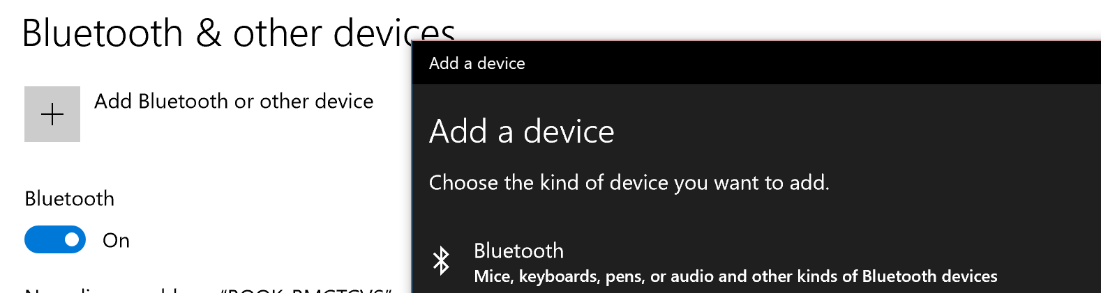 Add a bluetooth device to windows 10