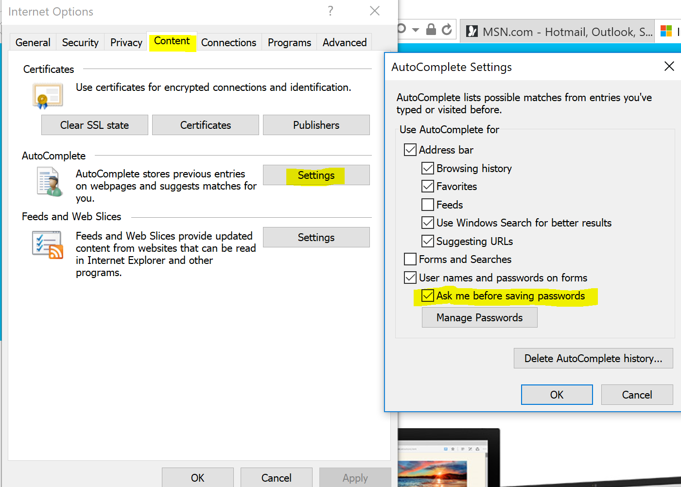 Windows 10 security settings