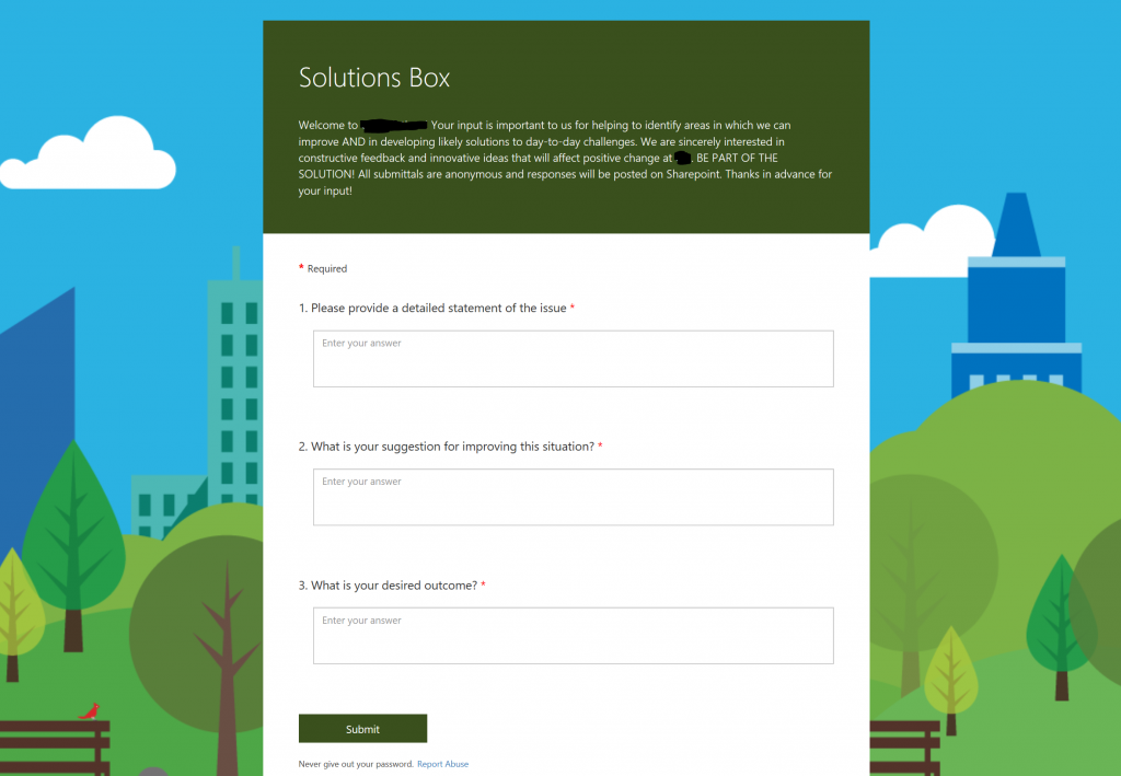 Digital suggestion box with Microsoft Forms