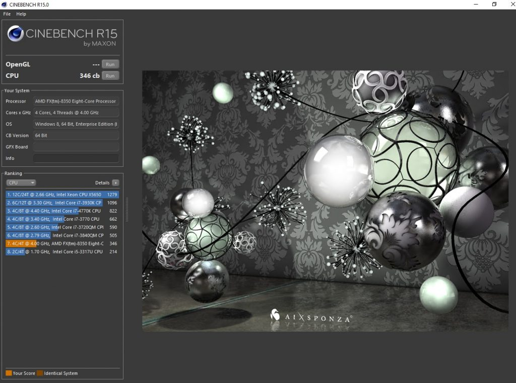 Cinebench score with processor compatibility mode enabled
