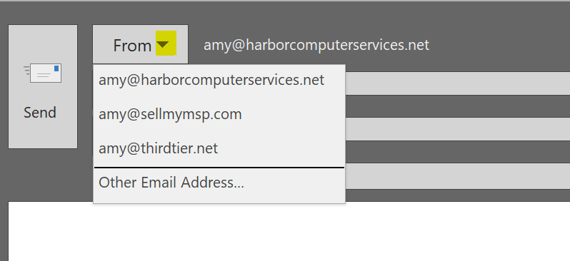 Send as drop-down menu when using shared mailboxes