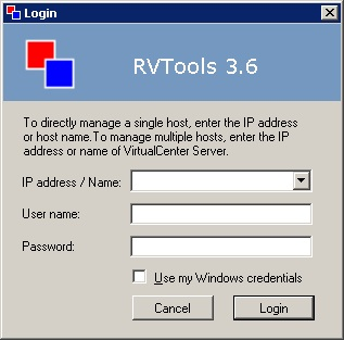 RVtools login screen