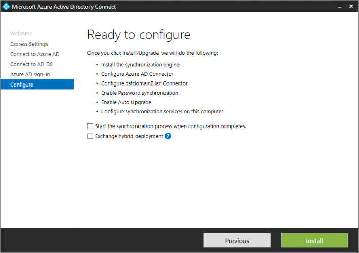 Azure AD connect configuration