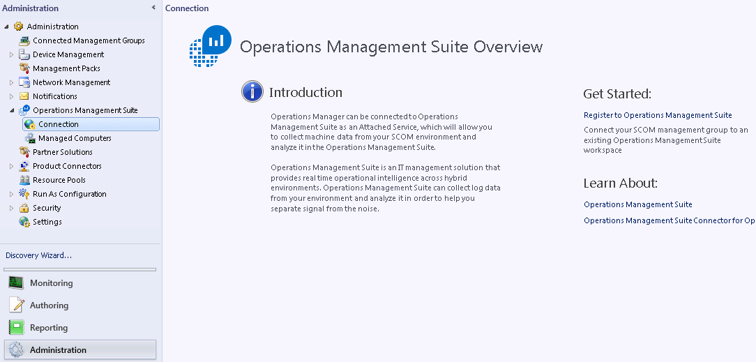 Register OMS connection in System Center Operations Manager console