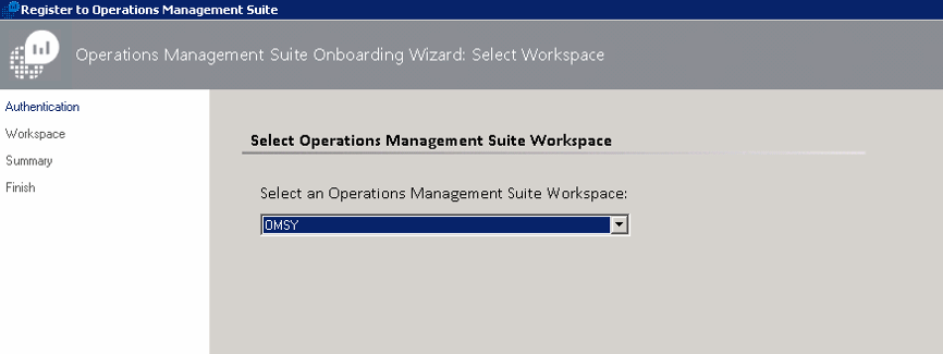 In the Workspace tab, select the OMS workspace existent.