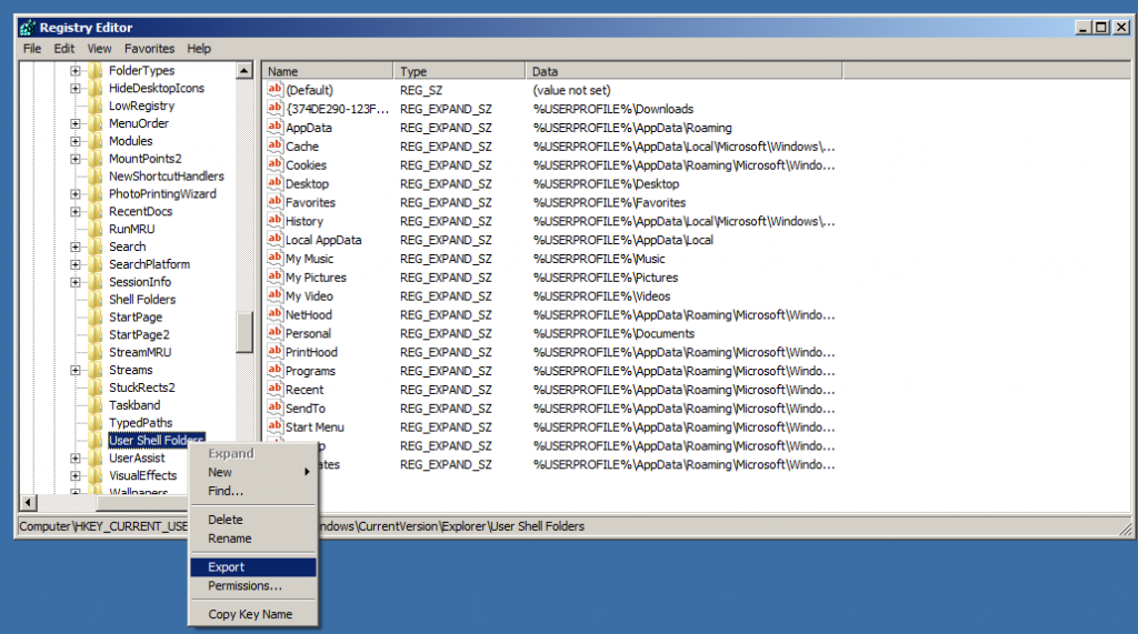 Export the registry keys in 'User Shell folder'