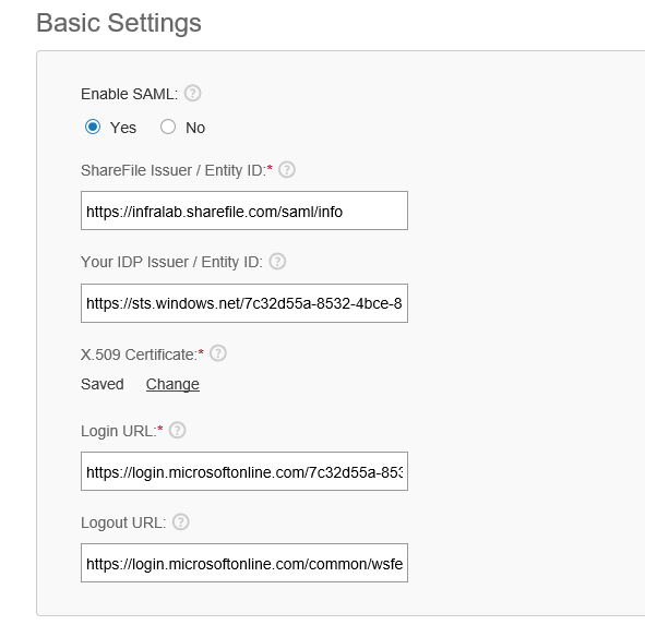 Citrix ShareFile settings
