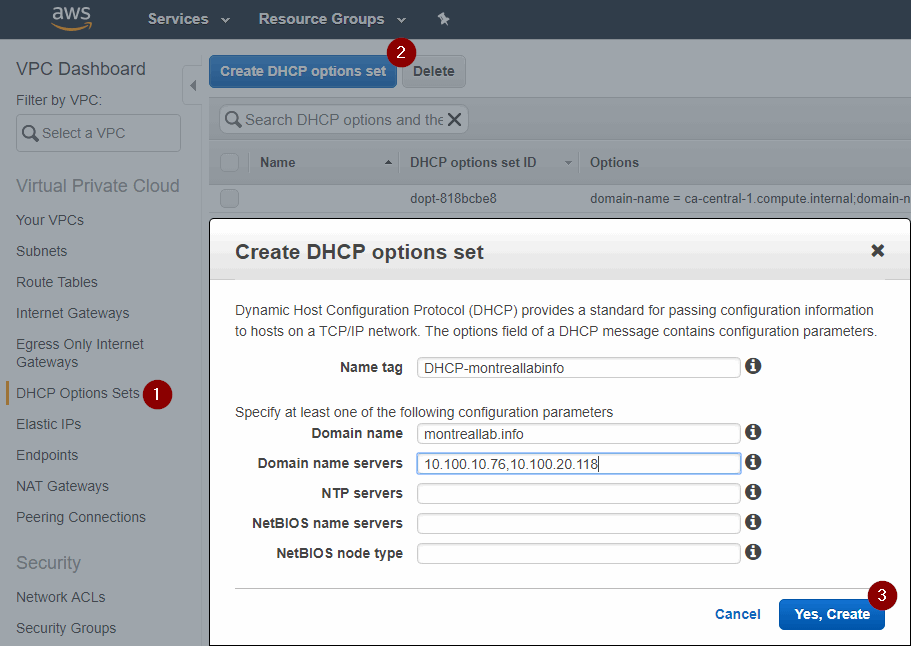 Create DHCP options set